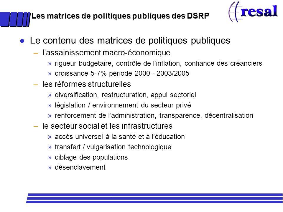 Les matrices de politiques publiques des DSRP l Le contenu des matrices de politiques publiques –lassainissement macro-économique »rigueur budgetaire,