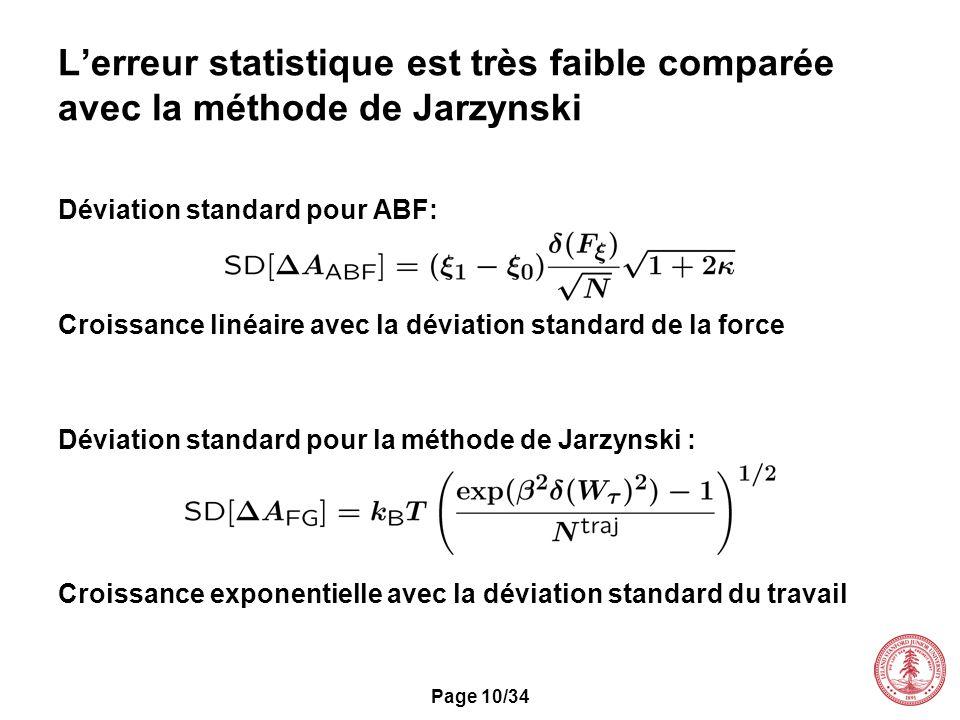 Page 10/34 Déviation standard pour ABF: Croissance linéaire avec la déviation standard de la force Déviation standard pour la méthode de Jarzynski : C