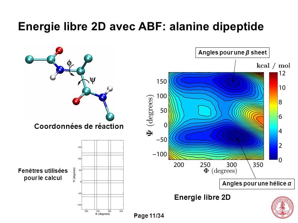 Page 11/34 Energie libre 2D avec ABF: alanine dipeptide Coordonnées de réaction Fenêtres utilisées pour le calcul Energie libre 2D Angles pour une hél