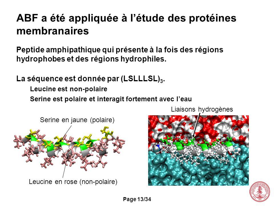 Page 13/34 ABF a été appliquée à létude des protéines membranaires Peptide amphipathique qui présente à la fois des régions hydrophobes et des régions