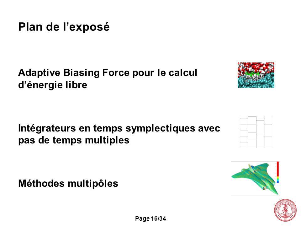 Page 16/34 Plan de lexposé Adaptive Biasing Force pour le calcul dénergie libre Intégrateurs en temps symplectiques avec pas de temps multiples Méthod