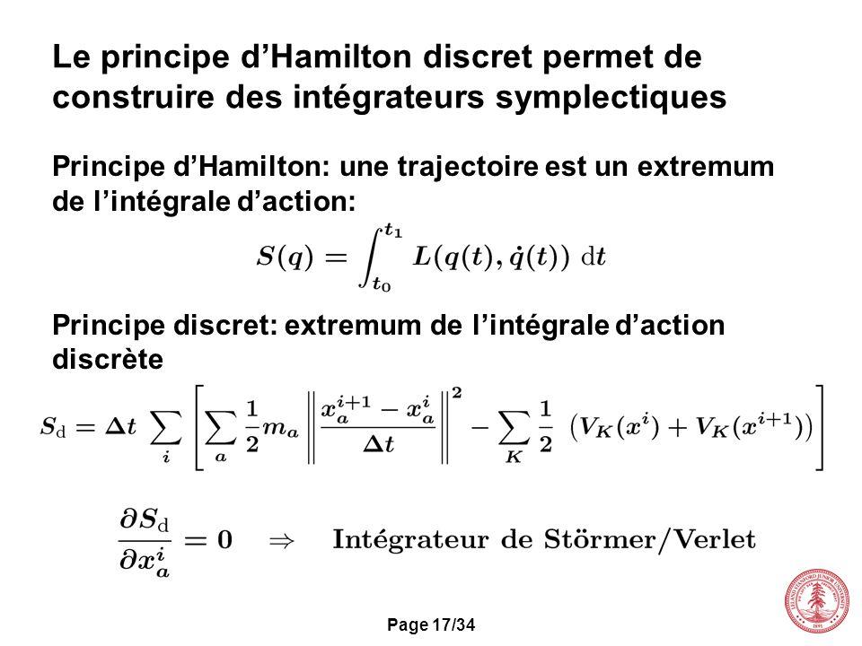 Page 17/34 Le principe dHamilton discret permet de construire des intégrateurs symplectiques Principe dHamilton: une trajectoire est un extremum de li