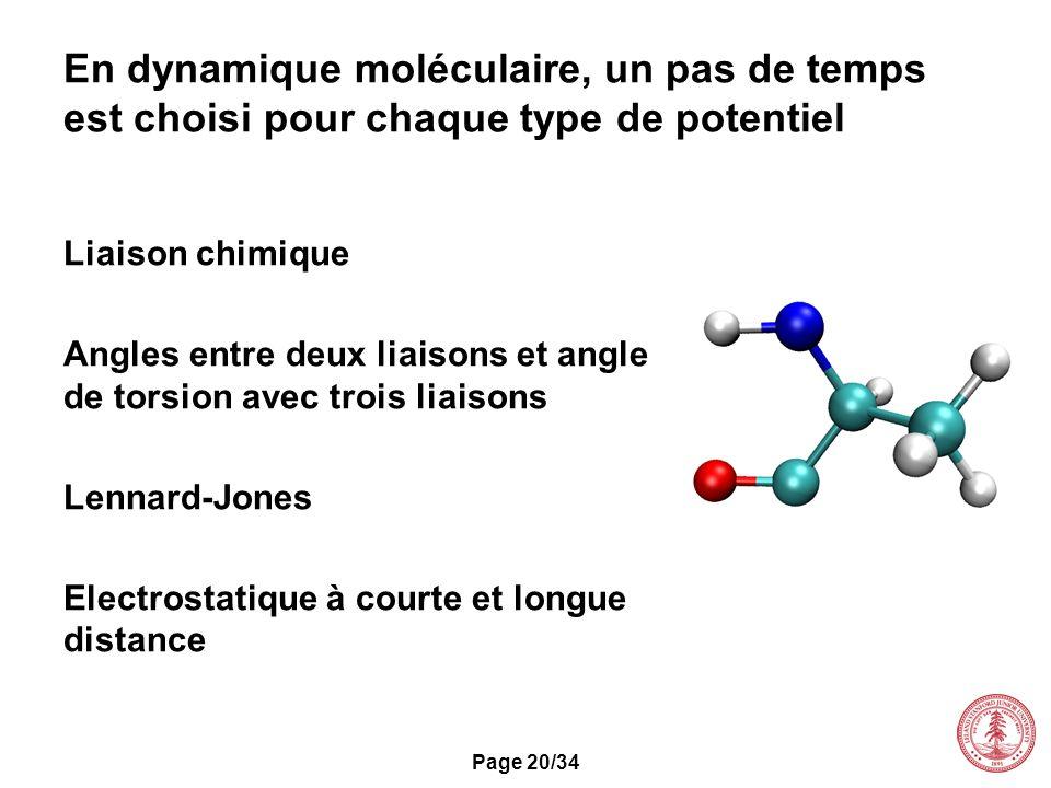 Page 20/34 En dynamique moléculaire, un pas de temps est choisi pour chaque type de potentiel Liaison chimique Angles entre deux liaisons et angle de