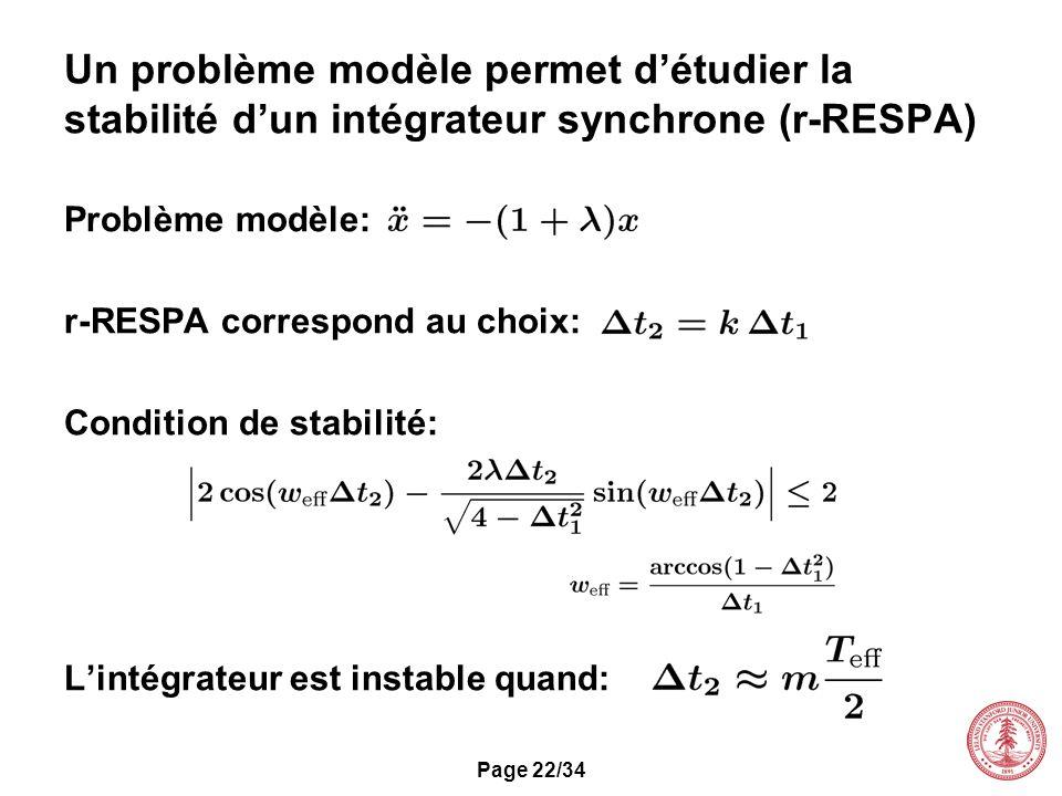 Page 22/34 Un problème modèle permet détudier la stabilité dun intégrateur synchrone (r-RESPA) Problème modèle: r-RESPA correspond au choix: Condition