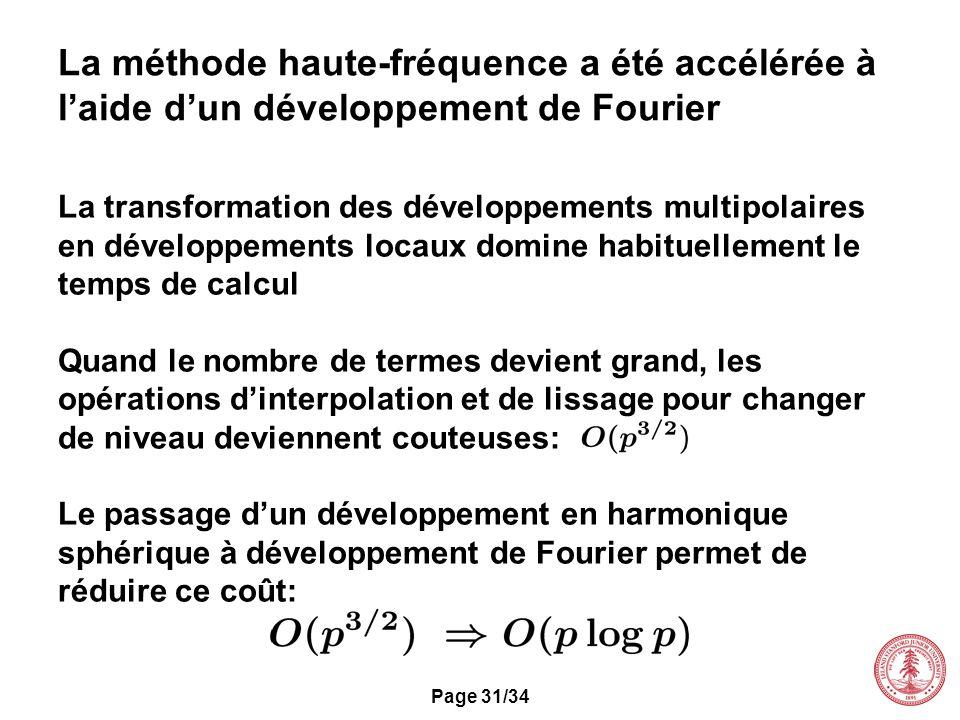Page 31/34 La méthode haute-fréquence a été accélérée à laide dun développement de Fourier La transformation des développements multipolaires en dével