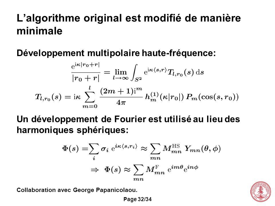 Page 32/34 Lalgorithme original est modifié de manière minimale Développement multipolaire haute-fréquence: Un développement de Fourier est utilisé au