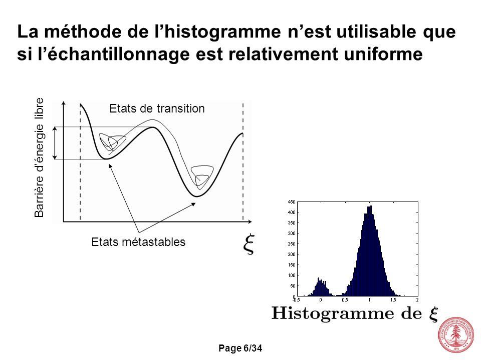 Page 6/34 La méthode de lhistogramme nest utilisable que si léchantillonnage est relativement uniforme Etats de transition Barrière dénergie libre Eta