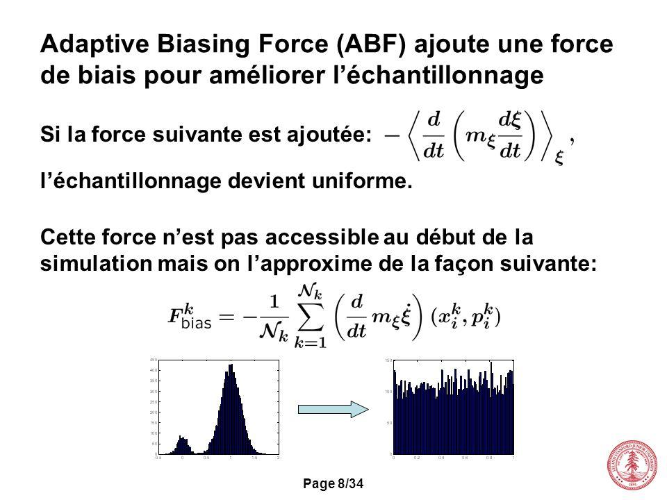 Page 8/34 Adaptive Biasing Force (ABF) ajoute une force de biais pour améliorer léchantillonnage Si la force suivante est ajoutée: léchantillonnage de