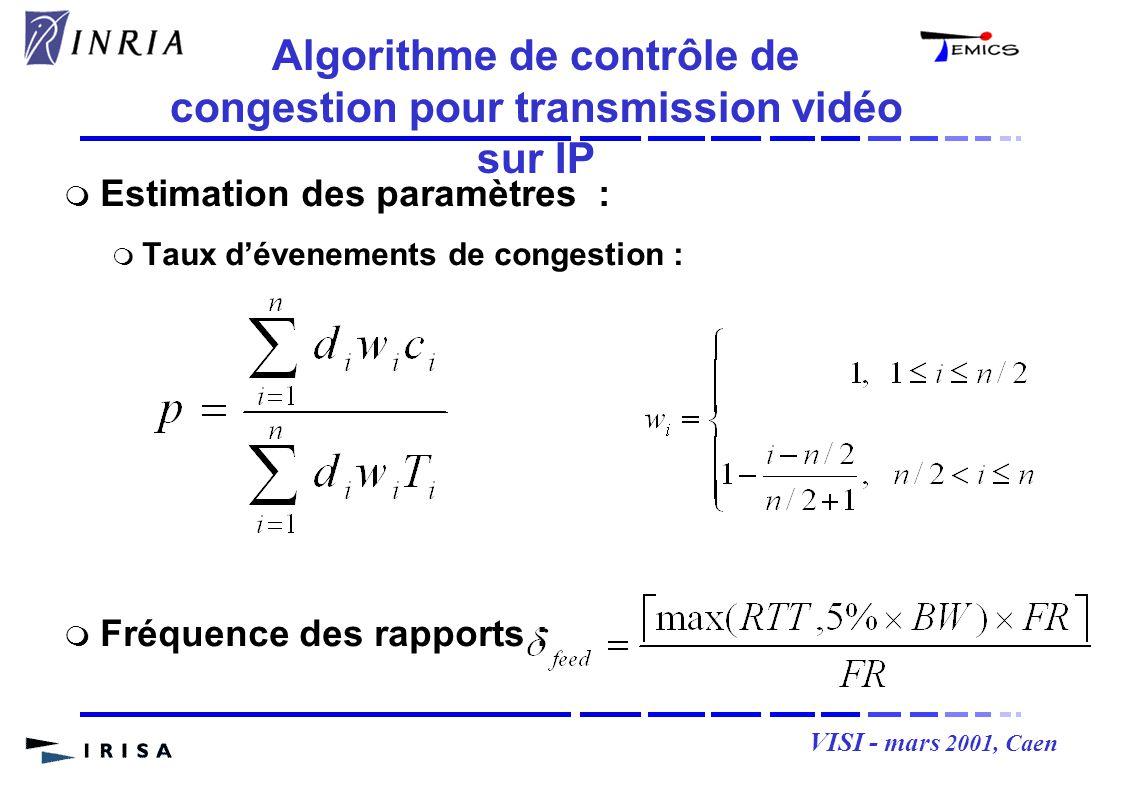 VISI - mars 2001, Caen Estimation des paramètres : Taux dévenements de congestion : Fréquence des rapports : Algorithme de contrôle de congestion pour transmission vidéo sur IP