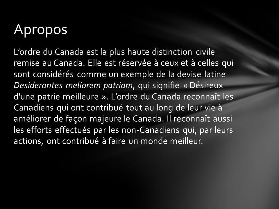 Lordre du Canada a été institué le 17 avril 1967 par la reine Elisabeth ll, sur les conseils du premier ministre Lester B.