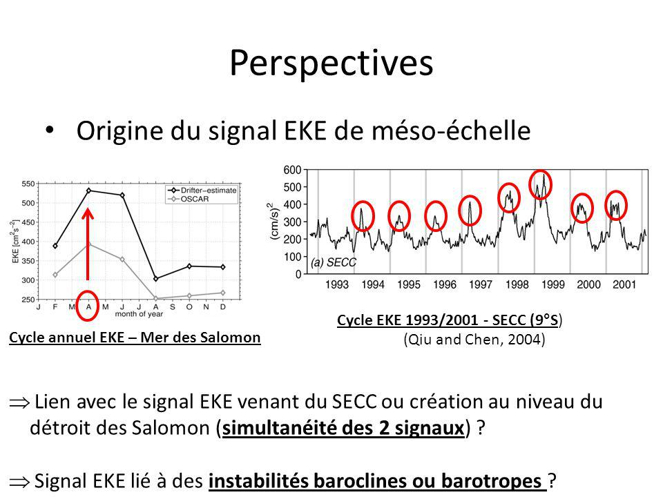 Origine du signal EKE de méso-échelle Perspectives Cycle annuel EKE – Mer des Salomon Cycle EKE 1993/2001 - SECC (9°S) (Qiu and Chen, 2004) Lien avec