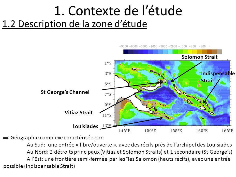 1.2 Description de la zone détude 1. Contexte de létude Vitiaz Strait St Georges Channel Solomon Strait Géographie complexe caractérisée par: Au Sud: