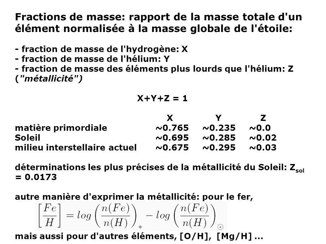 Fractions de masse: rapport de la masse totale d'un élément normalisée à la masse globale de l'étoile: - fraction de masse de l'hydrogène: X - fractio