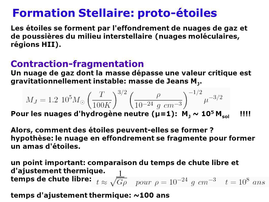 Formation Stellaire: proto-étoiles Les étoiles se forment par l'effondrement de nuages de gaz et de poussières du milieu interstellaire (nuages molécu