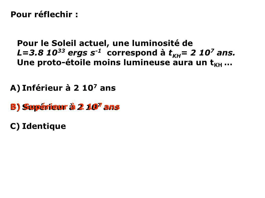 Pour réflechir : Pour le Soleil actuel, une luminosité de L=3.8 10 33 ergs s -1 correspond à t KH = 2 10 7 ans. Une proto-étoile moins lumineuse aura