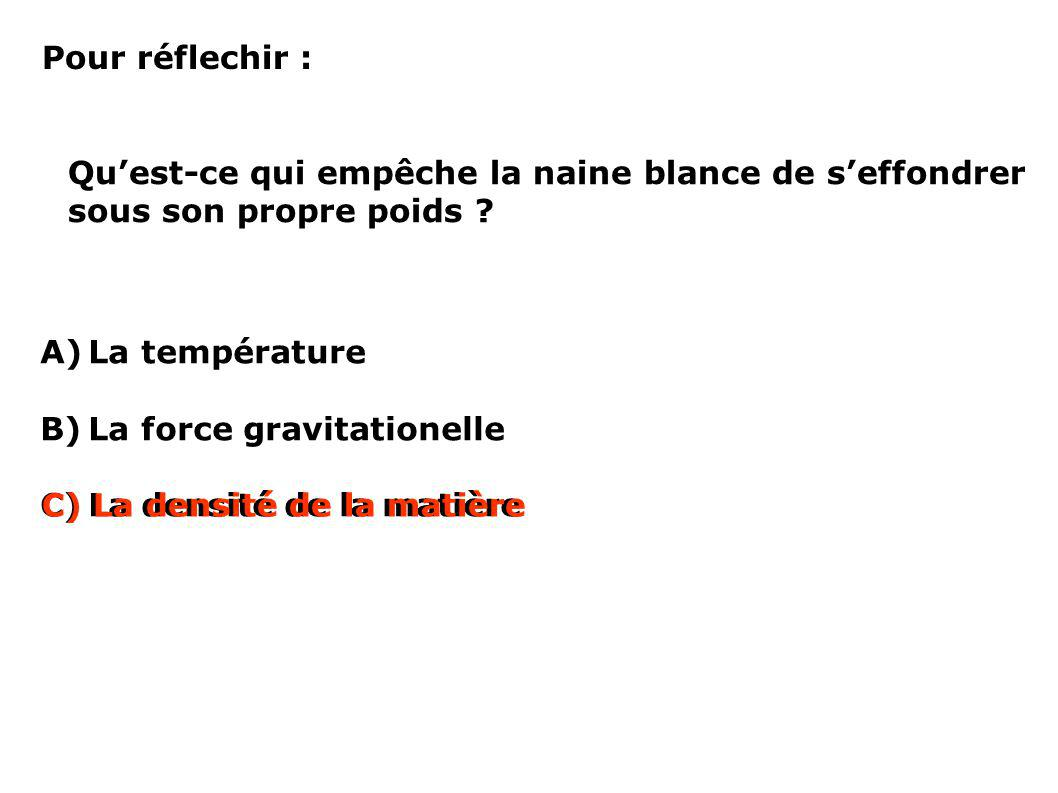 Pour réflechir : Quest-ce qui empêche la naine blance de seffondrer sous son propre poids ? A)La température B)La force gravitationelle C)La densité d