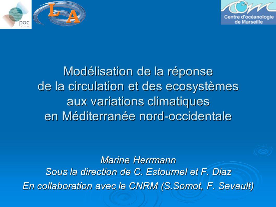 Modélisation de la réponse de la circulation et des ecosystèmes aux variations climatiques en Méditerranée nord-occidentale Marine Herrmann Sous la direction de C.