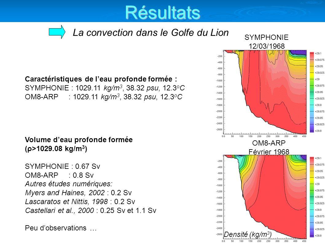 La convection dans le Golfe du Lion Caractéristiques de leau profonde formée : SYMPHONIE : 1029.11 kg/m 3, 38.32 psu, 12.3 o C OM8-ARP : 1029.11 kg/m 3, 38.32 psu, 12.3 o C Volume deau profonde formée (ρ>1029.08 kg/m 3 ) SYMPHONIE : 0.67 Sv OM8-ARP : 0.8 Sv Autres études numériques: Myers and Haines, 2002 : 0.2 Sv Lascaratos et Nittis, 1998 : 0.2 Sv Castellari et al., 2000 : 0.25 Sv et 1.1 Sv Peu dobservations … OM8-ARP Février 1968 Densité (kg/m 3 ) SYMPHONIE 12/03/1968 Résultats