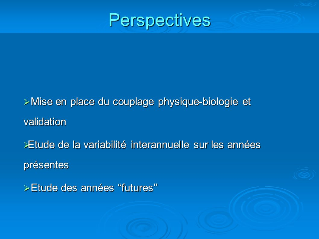 Perspectives Mise en place du couplage physique-biologie et validation Mise en place du couplage physique-biologie et validation Etude de la variabili