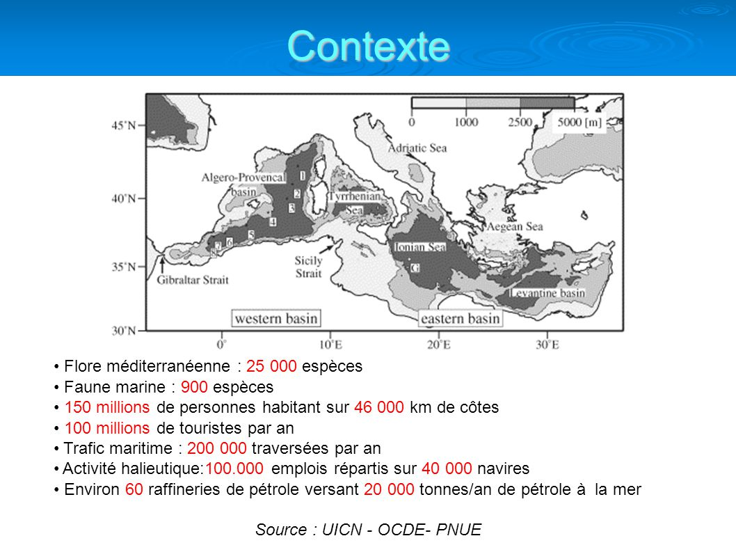Flore méditerranéenne : 25 000 espèces Faune marine : 900 espèces 150 millions de personnes habitant sur 46 000 km de côtes 100 millions de touristes par an Trafic maritime : 200 000 traversées par an Activité halieutique:100.000 emplois répartis sur 40 000 navires Environ 60 raffineries de pétrole versant 20 000 tonnes/an de pétrole à la mer Source : UICN - OCDE- PNUE Contexte