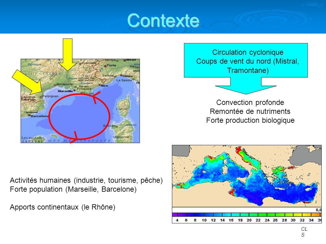 Objectifs Circulation marine et biologie très sensibles au forçage atmosphérique Etude du CNRM (S.Somot, F.Sevault, M.Déqué): OPAMED8/ARPEGE Climat sur lensemble de la Méditerranée 1960-2100, scénario IPCC A2 OM8-ARP Augmentation de la température (SST +2.5 °C) Augmentation de la salinité (SSS +0.33 psu) Diminution de la fréquence et de lintensité des coups de vents et de la convection profonde Certainement une influence sur la production biologique Etudier limpact des variations climatiques sur la circulation marine et sur la biologie en Méditerranée Nord-Occidentale NOTRE BUT : ?