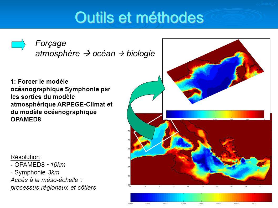 Outils et méthodes Forçage atmosphère océan biologie 1: Forcer le modèle océanographique Symphonie par les sorties du modèle atmosphérique ARPEGE-Climat et du modèle océanographique OPAMED8 Résolution: - OPAMED8 ~10km - Symphonie 3km Accès à la méso-échelle : processus régionaux et côtiers
