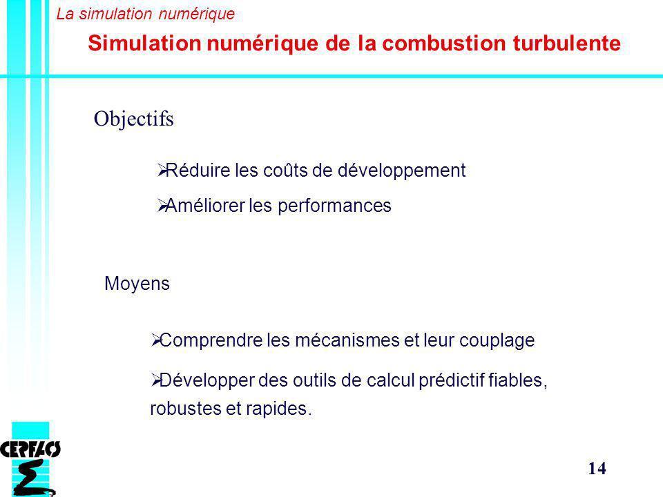 14 Objectifs Simulation numérique de la combustion turbulente Réduire les coûts de développement Améliorer les performances Moyens Comprendre les mécanismes et leur couplage Développer des outils de calcul prédictif fiables, robustes et rapides.