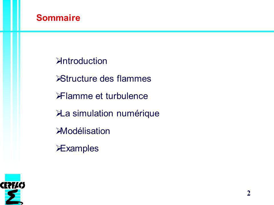 2 Sommaire Introduction Structure des flammes Flamme et turbulence La simulation numérique Modélisation Examples