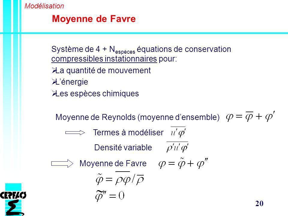20 Moyenne de Favre Modélisation Système de 4 + N espèces équations de conservation compressibles instationnaires pour: La quantité de mouvement Lénergie Les espèces chimiques Moyenne de Reynolds (moyenne densemble) Termes à modéliser Densité variable Moyenne de Favre