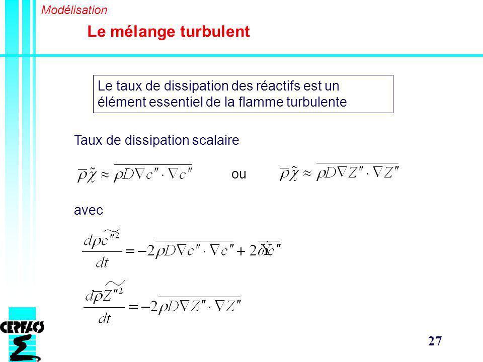 27 Le mélange turbulent Modélisation Le taux de dissipation des réactifs est un élément essentiel de la flamme turbulente Taux de dissipation scalaire ou avec