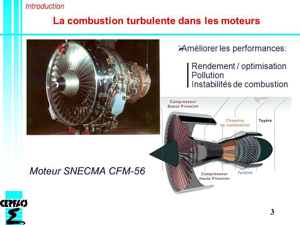 3 La combustion turbulente dans les moteurs Moteur SNECMA CFM-56 Améliorer les performances: Rendement / optimisation Pollution Instabilités de combustion Introduction