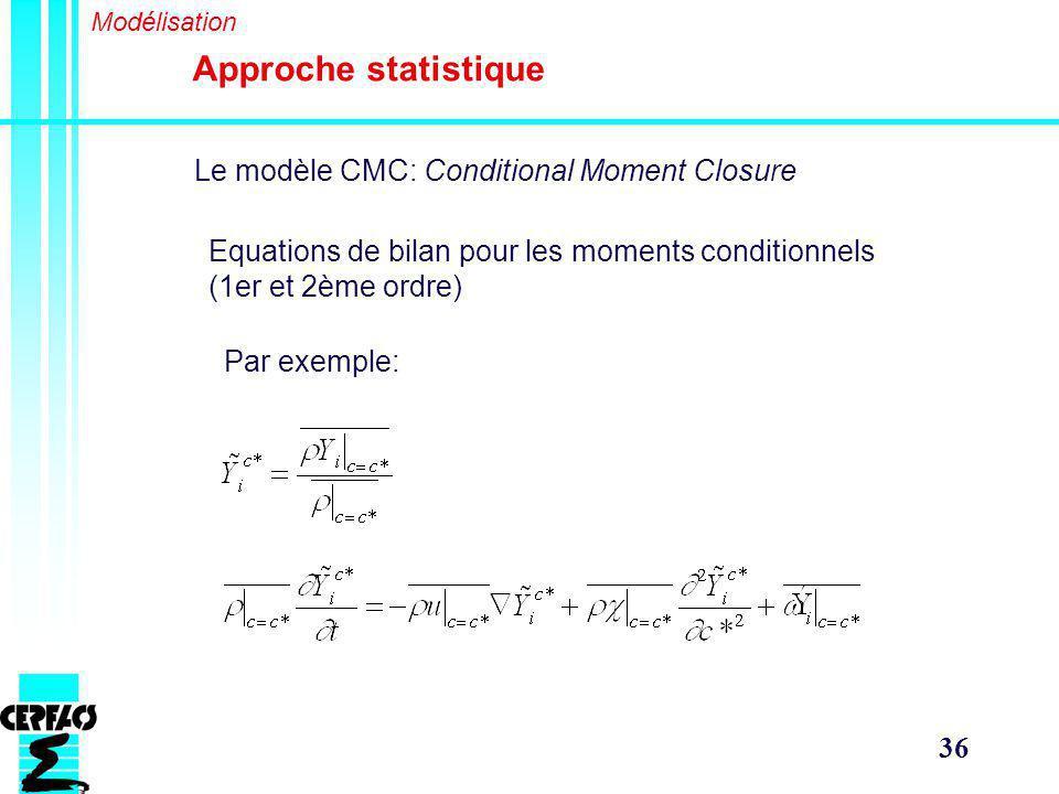 36 Approche statistique Modélisation Le modèle CMC: Conditional Moment Closure Equations de bilan pour les moments conditionnels (1er et 2ème ordre) Par exemple: