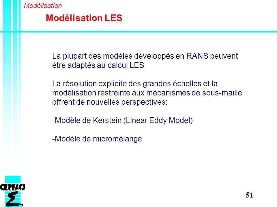 51 Modélisation LES Modélisation La plupart des modèles développés en RANS peuvent être adaptés au calcul LES La résolution explicite des grandes échelles et la modélisation restreinte aux mécanismes de sous-maille offrent de nouvelles perspectives: -Modèle de Kerstein (Linear Eddy Model) -Modèle de micromélange