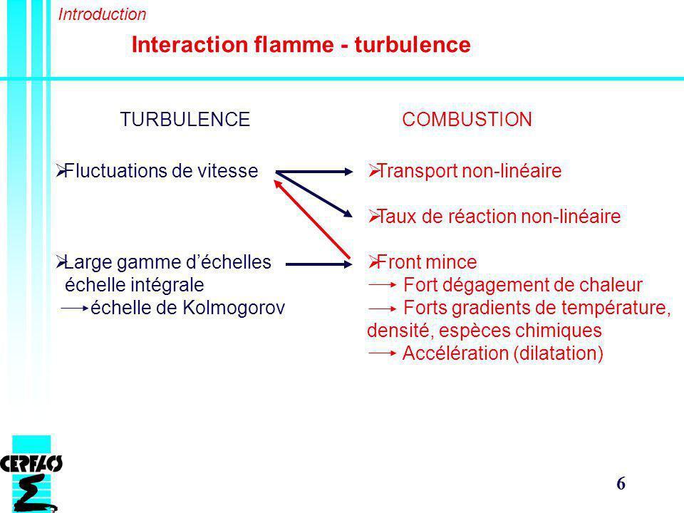 6 Interaction flamme - turbulence TURBULENCECOMBUSTION Fluctuations de vitesse Large gamme déchelles échelle intégrale échelle de Kolmogorov Transport non-linéaire Taux de réaction non-linéaire Front mince Fort dégagement de chaleur Forts gradients de température, densité, espèces chimiques Accélération (dilatation) Introduction