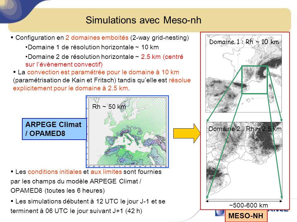 Simulations avec Meso-nh Configuration en 2 domaines emboités (2-way grid-nesting) Domaine 1 de résolution horizontale ~ 10 km Domaine 2 de résolution