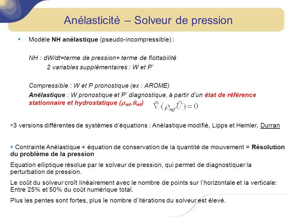 Variables pronostiques : Vent (u,v,w), température potentielle, rapport de mélange des hydrométéores (r v,r c,r r,r i,r g,r s ), TKE, traceurs : Variables - Rapport de mélange = rapport à la masse dair sec Il y a conservation de la masse dair sec Conservation de la masse dune substance = Conservation de son rapport de mélange - : Température de la particule si on lui faisait subir une transformation adiabatique en modifiant sa P pour lamener à 1000hPa.