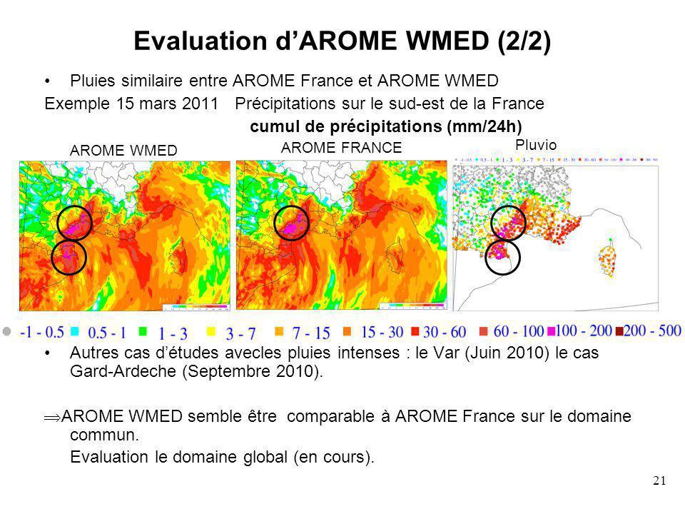 21 Evaluation dAROME WMED (2/2) Pluies similaire entre AROME France et AROME WMED Exemple 15 mars 2011 Précipitations sur le sud-est de la France cumul de précipitations (mm/24h) Autres cas détudes avecles pluies intenses : le Var (Juin 2010) le cas Gard-Ardeche (Septembre 2010).