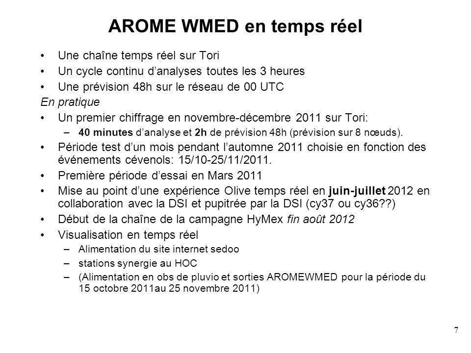 7 AROME WMED en temps réel Une chaîne temps réel sur Tori Un cycle continu danalyses toutes les 3 heures Une prévision 48h sur le réseau de 00 UTC En pratique Un premier chiffrage en novembre-décembre 2011 sur Tori: –40 minutes danalyse et 2h de prévision 48h (prévision sur 8 nœuds).