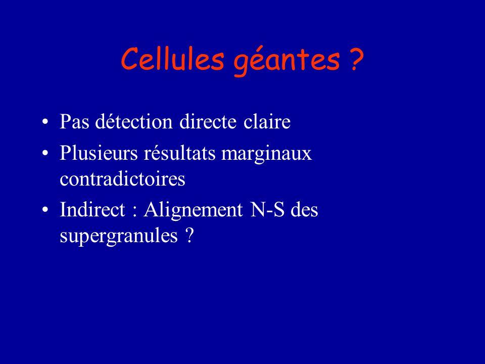 Cellules géantes ? Pas détection directe claire Plusieurs résultats marginaux contradictoires Indirect : Alignement N-S des supergranules ?