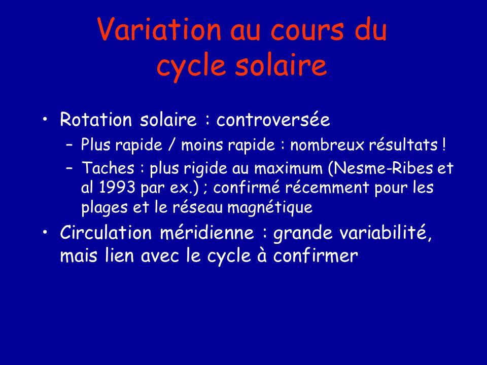 Rotation solaire : controversée –Plus rapide / moins rapide : nombreux résultats ! –Taches : plus rigide au maximum (Nesme-Ribes et al 1993 par ex.) ;