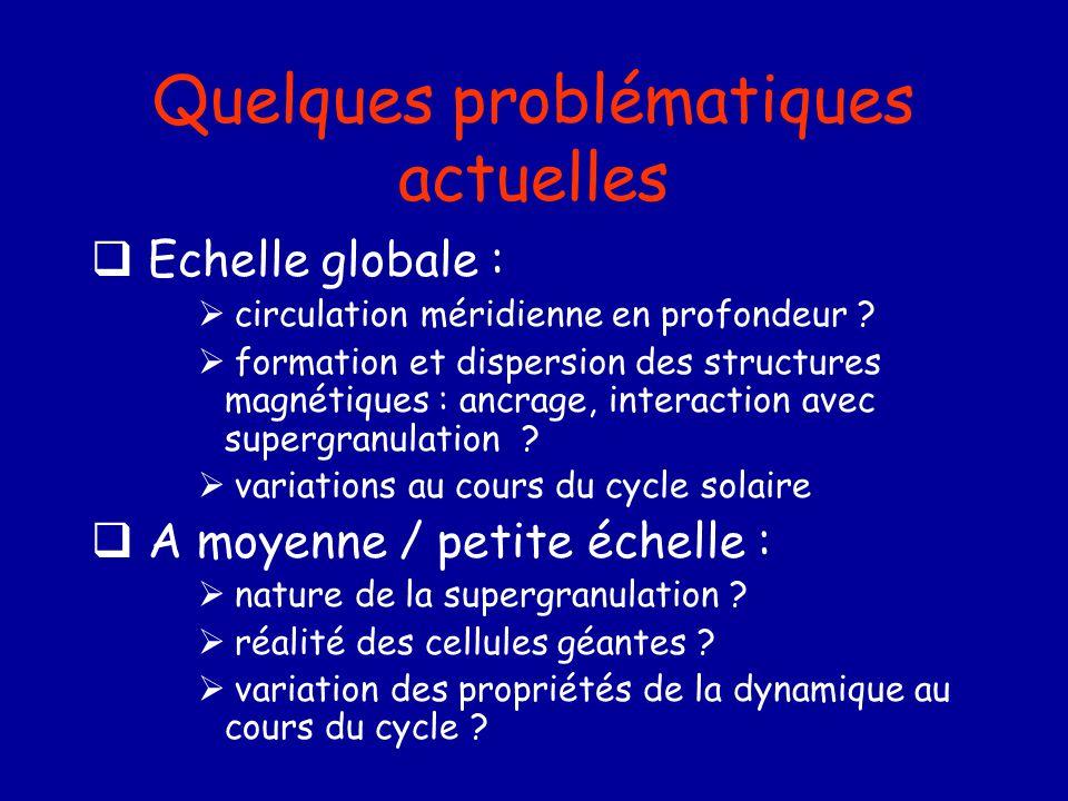 Quelques problématiques actuelles Echelle globale : circulation méridienne en profondeur ? formation et dispersion des structures magnétiques : ancrag