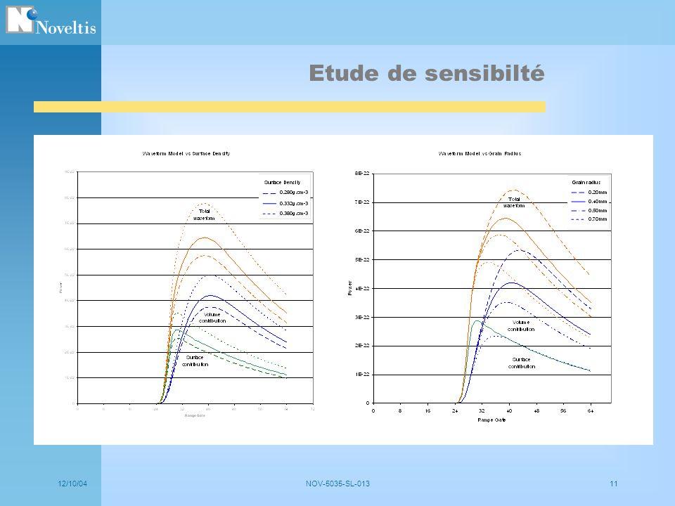 12/10/04NOV-5035-SL-01311 Etude de sensibilté