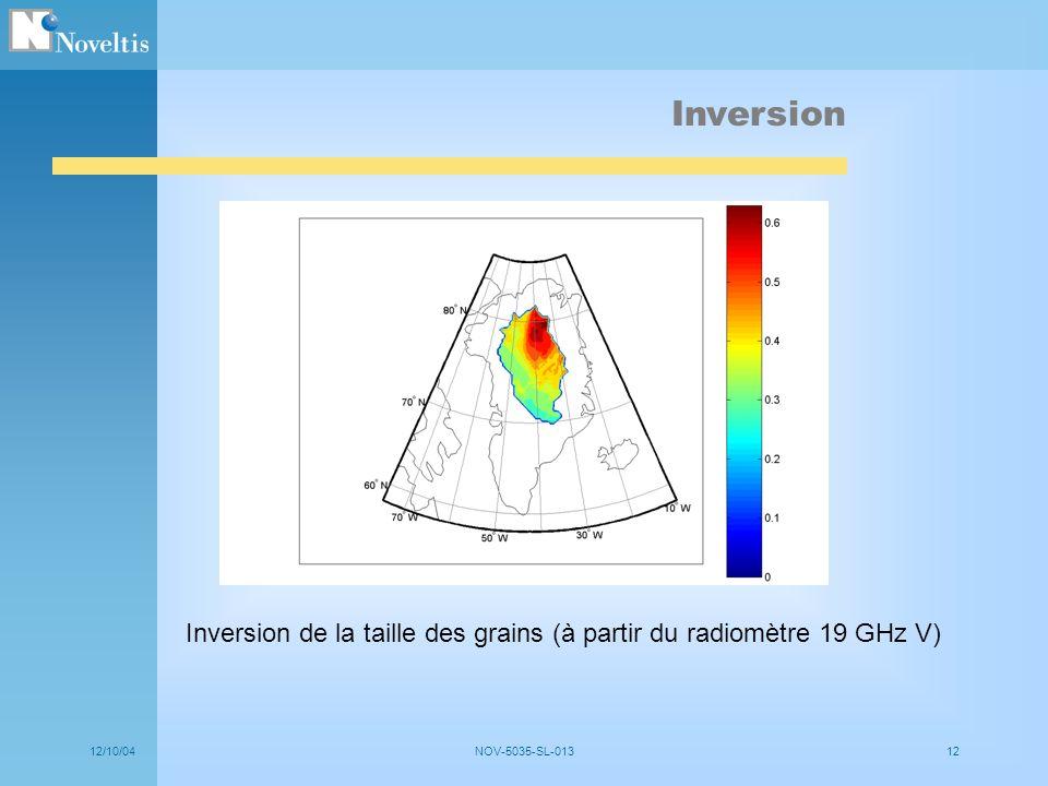 12/10/04NOV-5035-SL-01312 Inversion de la taille des grains (à partir du radiomètre 19 GHz V) Inversion