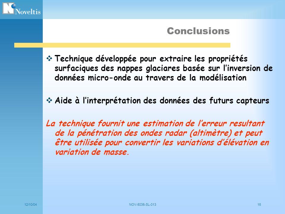 12/10/04NOV-5035-SL-01316 Conclusions Technique développée pour extraire les propriétés surfaciques des nappes glaciares basée sur linversion de donné
