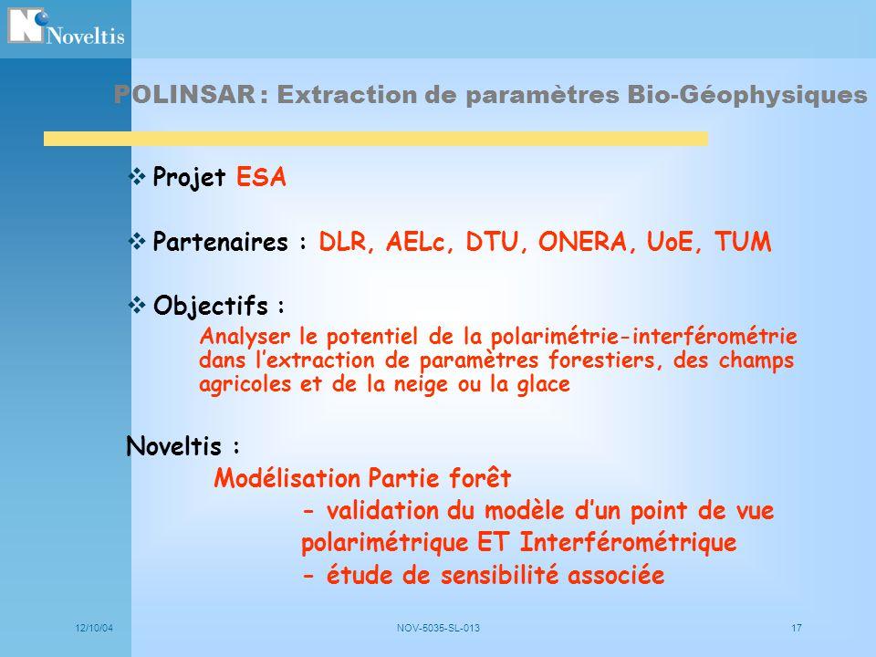 12/10/04NOV-5035-SL-01317 POLINSAR : Extraction de paramètres Bio-Géophysiques Projet ESA Partenaires : DLR, AELc, DTU, ONERA, UoE, TUM Objectifs : An