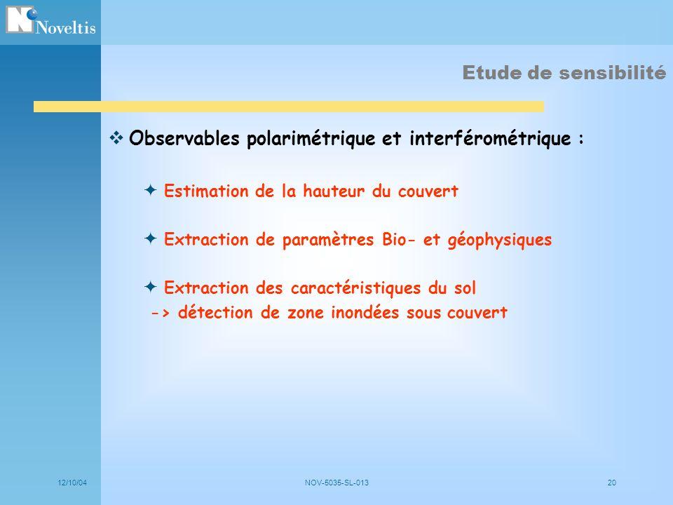 12/10/04NOV-5035-SL-01320 Etude de sensibilité Observables polarimétrique et interférométrique : Estimation de la hauteur du couvert Extraction de par