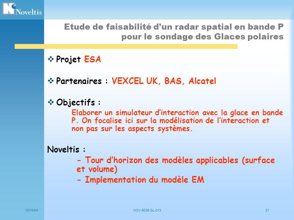 12/10/04NOV-5035-SL-01321 Etude de faisabilité dun radar spatial en bande P pour le sondage des Glaces polaires Projet ESA Partenaires : VEXCEL UK, BA