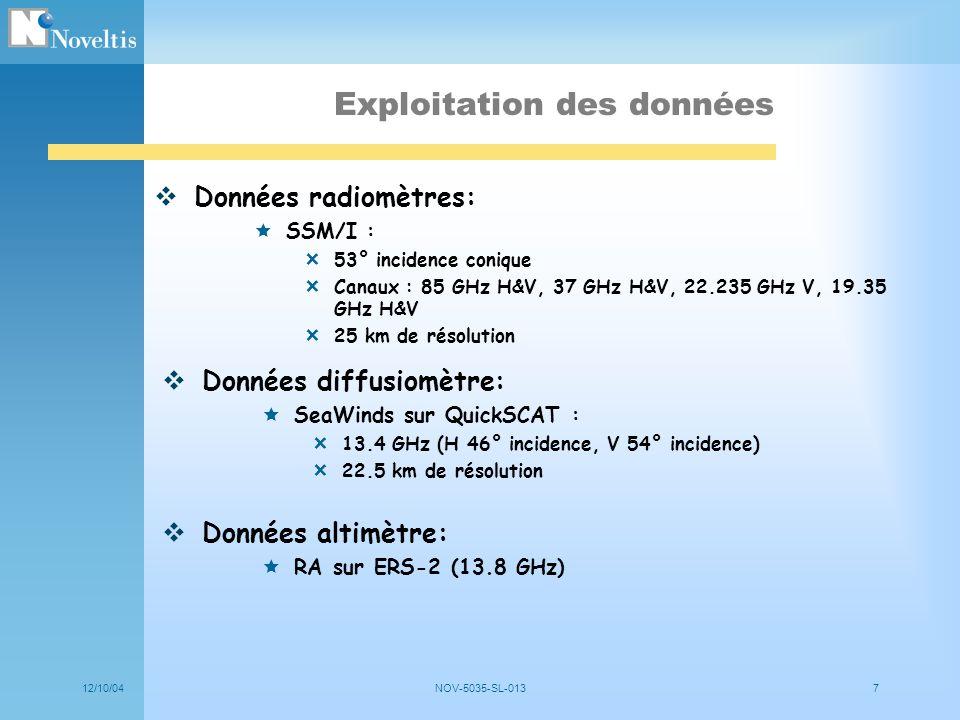 12/10/04NOV-5035-SL-0137 Exploitation des données Données radiomètres: SSM/I : 53° incidence conique Canaux : 85 GHz H&V, 37 GHz H&V, 22.235 GHz V, 19