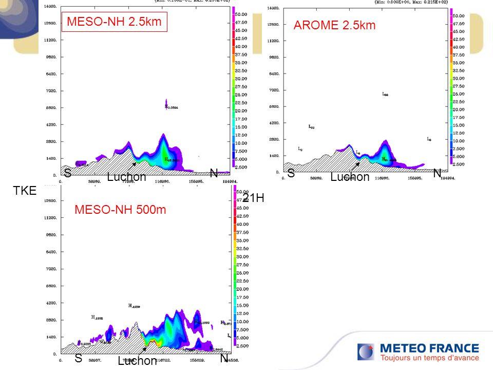 21H Luchon SN TKE MESO-NH 2.5km Luchon SN SN AROME 2.5km MESO-NH 500m