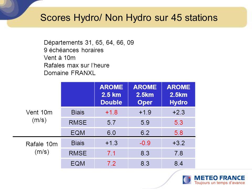 AROME 2.5 km Double AROME 2.5km Oper AROME 2.5km Hydro Biais+1.8+1.9+2.3 RMSE5.75.95.3 EQM6.06.25.8 Biais+1.3-0.9+3.2 RMSE7.18.37.8 EQM7.28.38.4 Scores Hydro/ Non Hydro sur 45 stations Départements 31, 65, 64, 66, 09 9 échéances horaires Vent à 10m Rafales max sur lheure Domaine FRANXL Vent 10m (m/s) Rafale 10m (m/s)